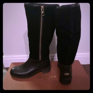 Coach Bailey Safari Black Leather Knee High Boots